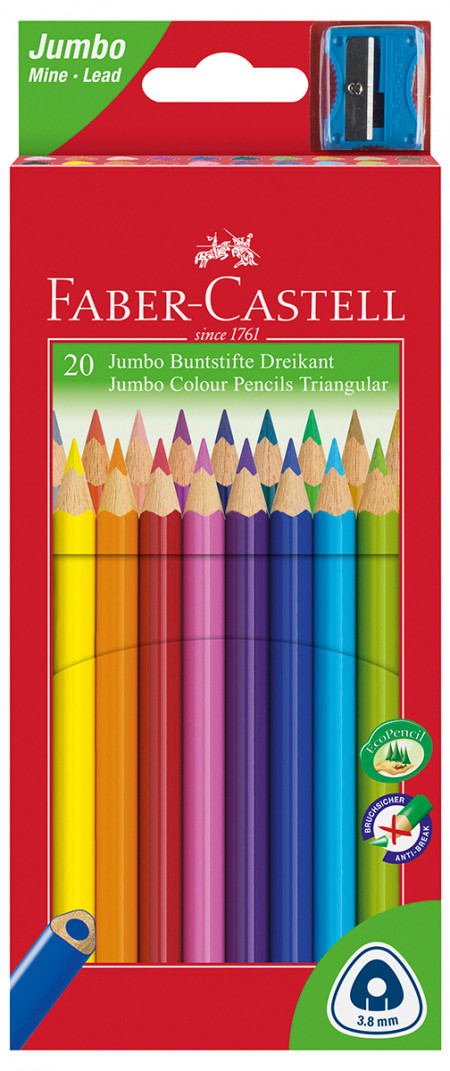 Faber-Castell Junior Triangular Colouring Pencils - Assorted Colours (Pack of 20)