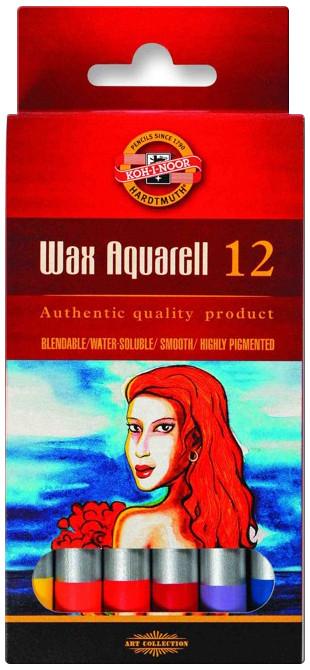 Koh-I-Noor 8282 Wax Aquarell Coloured Pencils - Assorted Coloured (Pack of 12)