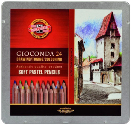 Koh-I-Noor 8828 Dry Chalk Pencils - Assorted Colours (Tin of 24)