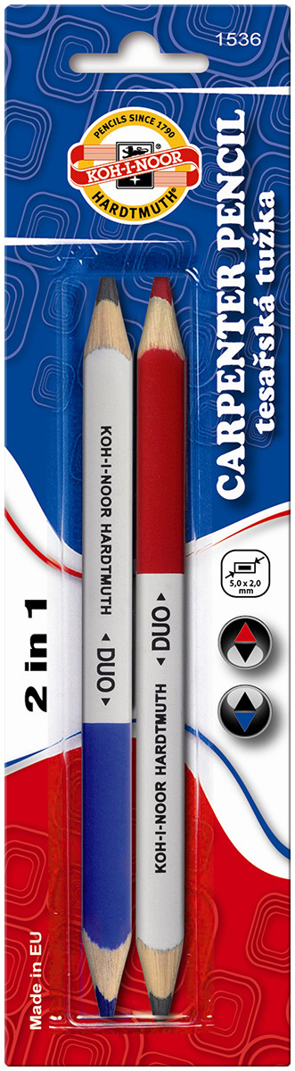 Koh-I-Noor 1536 Duo Carpenter's Pencil - Blue & Red (Pack of 2)