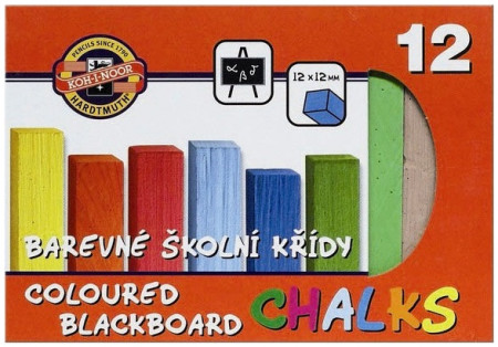 Koh-I-Noor Coloured Blackboard Chalks - Assorted Colours (Pack of 12)