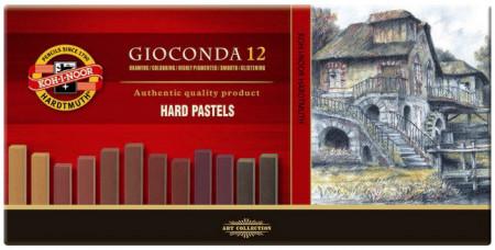 Koh-I-Noor 8122 Artist's Hard Chalks - Assorted Brown Colours (Pack of 12)