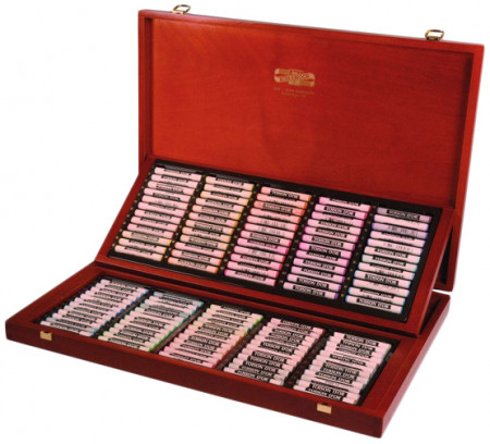 Koh-I-Noor 8539 Artist's Round Dry Chalks - Assorted Colours (Wooden Case of 120)