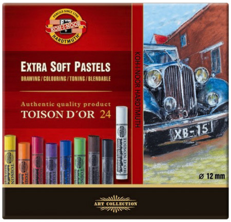 Koh-I-Noor 8554 Artist's Extra Soft Round Dry Chalks - Assorted Colours (Pack of 24)