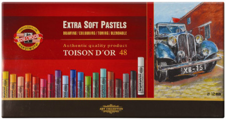 Koh-I-Noor 8556 Artist's Extra Soft Round Dry Chalks - Assorted Colours (Pack of 48)