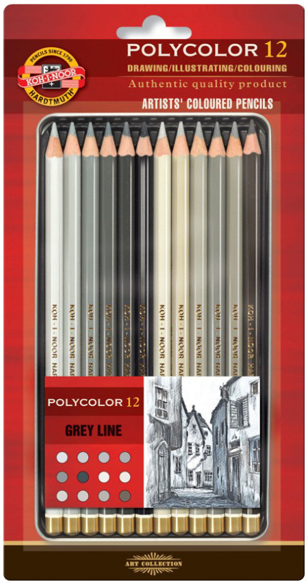 Koh-I-Noor 3822 Coloured Pencils - Assorted Grey Colours (Blister Tin of 12)