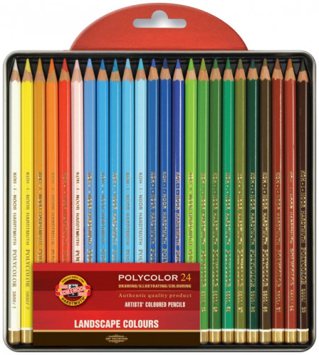 Koh-I-Noor 3824 Coloured Pencils - Assorted Landscape Colours (Blister Tin of 24)