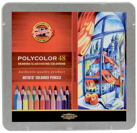 Koh-I-Noor 3826 Coloured Pencils - Assorted Colours (Tin of 48)
