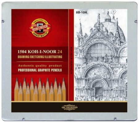Koh-I-Noor 1504 Graphite Pencils - 8B to 10H (Tin of 24)
