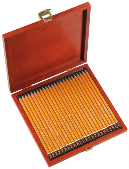 Koh-I-Noor 1504 Graphite Pencils - 8B to 10H (Wooden Case of 24)