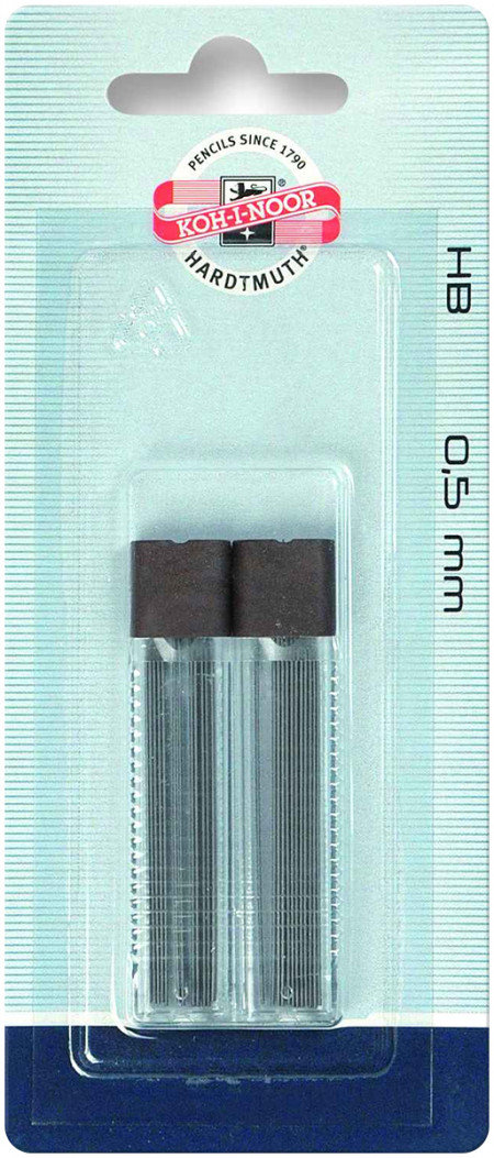 Koh-I-Noor 4152 Fine Graphite Leads - 0.5mm x 60mm - HB (2 Tubes of 12)