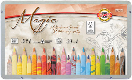 Koh-I-Noor 3408 Jumbo Special Coloured Magic Pencils - Assorted Colours with Blender (Pack of 23)