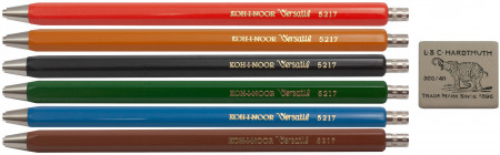 Koh-I-Noor 5217 Mechanical Pencils - Assorted Colours with Eraser (Pack of 6)