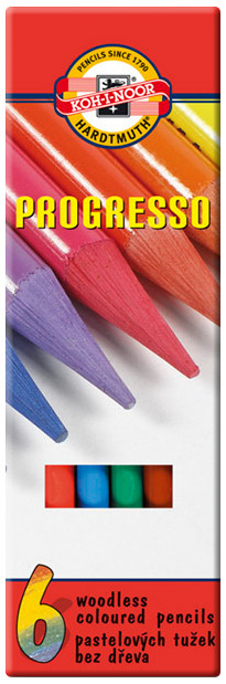 Koh-I-Noor 8755 Woodless Coloured Pencil - Assorted Colours (Pack of 6)