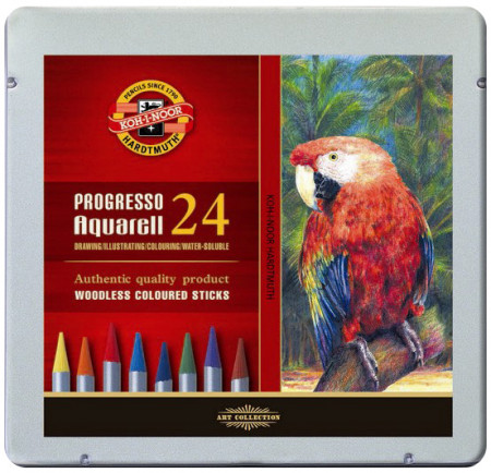 Koh-I-Noor 8784 Woodless Aquarell Coloured Pencils - Assorted Colours (Tin of 24)