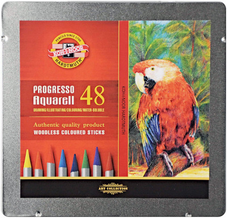 Koh-I-Noor 8786 Woodless Aquarell Coloured Pencils - Assorted Colours (Tin of 48)