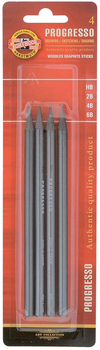 Koh-I-Noor 8914 Woodless Graphite Pencils - HB/2B/4B/6B (Blister of 4)