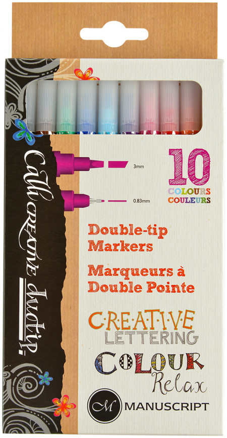Manuscript Callicreative Duotip Markers - Assorted Colours (Pack of 10)