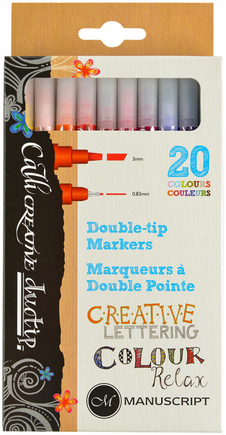 Manuscript Callicreative Duotip Markers - Assorted Colours (Pack of 20)