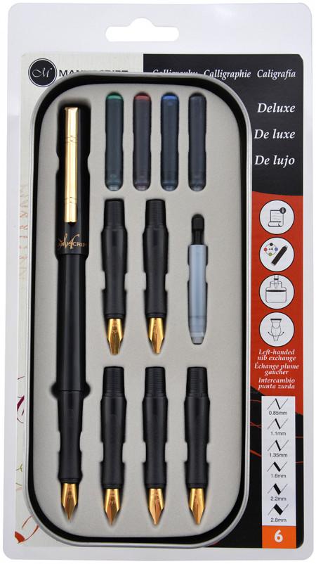Manuscript Classic Deluxe Calligraphy Pen Set - Deluxe 6 Nibs (Right Handed)