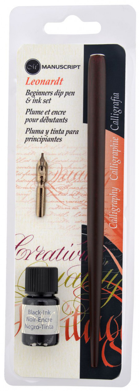 Manuscript Dip Pen Set - Round Hand Nib, Holder & Ink Bottle