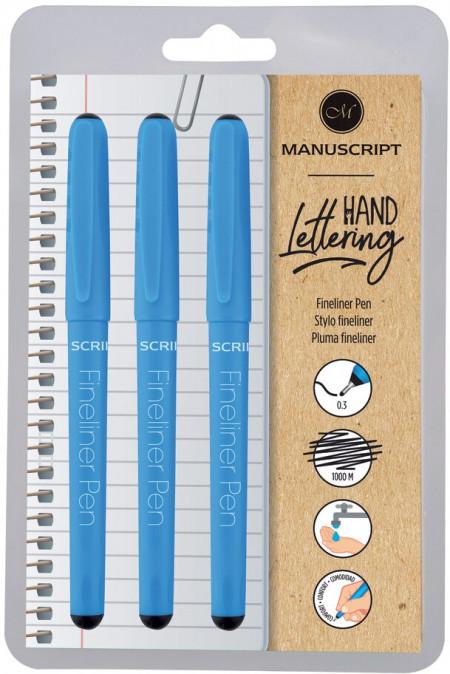Manuscript Fineliner Pens - Black (Triple Pack)