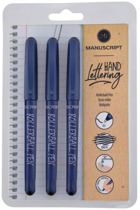 Manuscript Rollerball Pens - Black (Triple Pack)