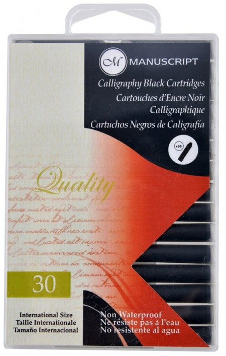 Manuscript Ink Cartridges - Calligraphy Black (Pack of 30)
