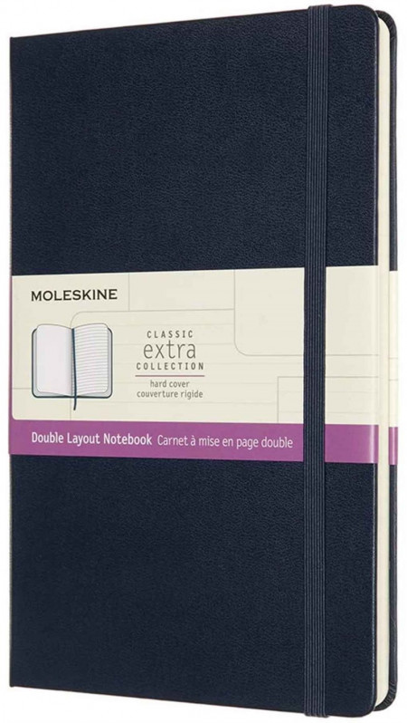 Moleskine Classic Extra Hardback Large Notebook - Ruled and Plain - Sapphire Blue