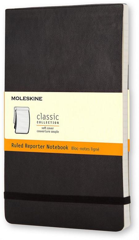 Moleskine Classic Reporter Soft Cover Pocket Notebook - Ruled - Black