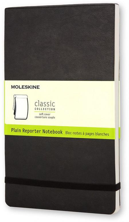 Moleskine Classic Reporter Soft Cover Pocket Notebook - Plain - Black