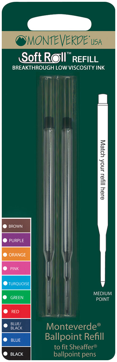 Monteverde Soft Ballpoint Refill To Fit Sheaffer (Blister of 2)