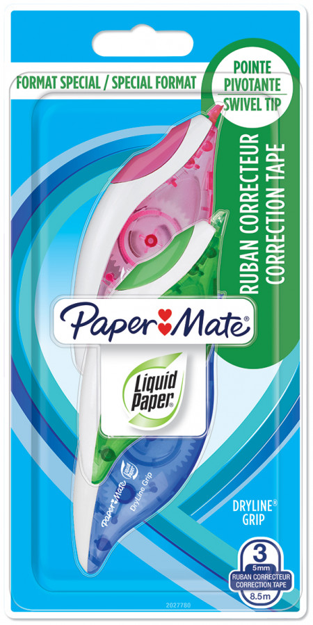 Papermate Dryline Grip Correction Tape (Pack of 3)
