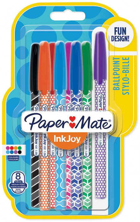 Papermate Inkjoy Wrap 100 Capped Ballpoint Pen - Medium - Fun Colours (Blister of 8)