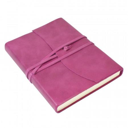 Papuro Amalfi Leather Journal - Raspberry - Medium