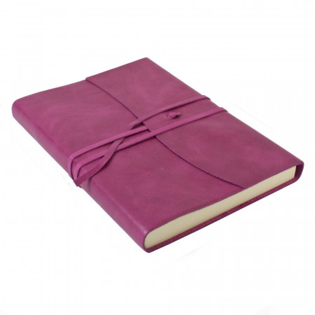 Papuro Amalfi Leather Journal - Raspberry - Large