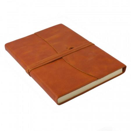 Papuro Amalfi Leather Journal - Orange - Large