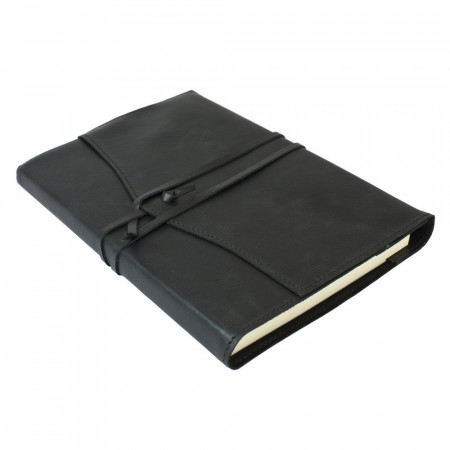 Papuro Milano Large Refillable Journal - Black with Ruled Pages