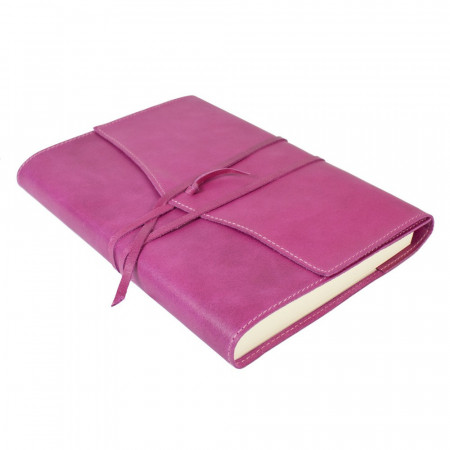 Papuro Milano Large Refillable Journal - Raspberry with Ruled Pages