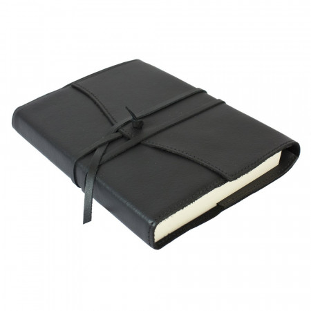 Papuro Milano Medium Refillable Journal - Black with Plain Pages