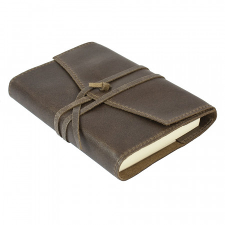 Papuro Milano Small Refillable Journal - Chocolate with Ruled Pages