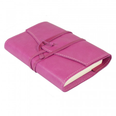 Papuro Milano Small Refillable Journal - Raspberry with Ruled Pages