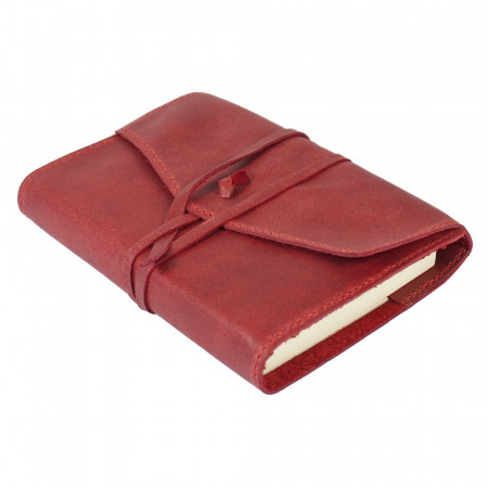 Papuro Milano Small Refillable Journal - Red with Plain Pages