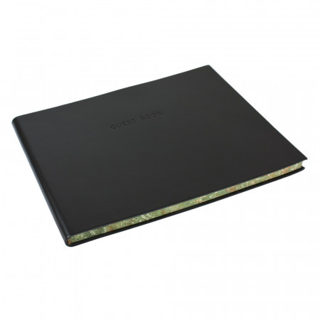 Papuro Torcello Leather Visitors Book - Black with Marbled Edges