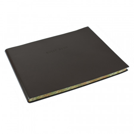 Papuro Torcello Leather Visitors Book - Brown with Marbled Edges