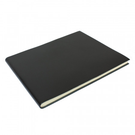 Papuro Torcello Leather Condolence Book - Black
