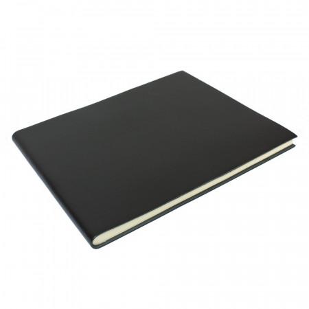 Papuro Torcello Leather Condolence Book - Black