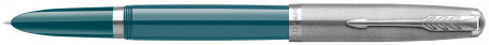 Parker 51 Fountain Pen - Teal Blue Resin Chrome Trim