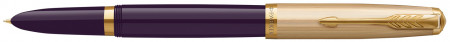 Parker 51 Fountain Pen - Plum Resin Gold Trim with Solid 18K Gold Nib