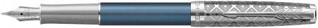 Parker Sonnet Premium Fountain Pen - Metal & Blue with Solid 18K Gold Nib